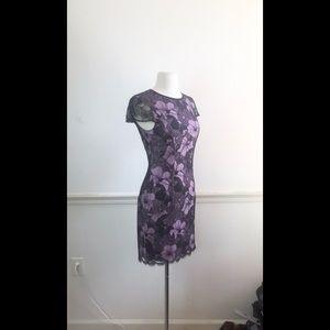 L'AGENCE 4 black lace cap sleeve cocktail dress